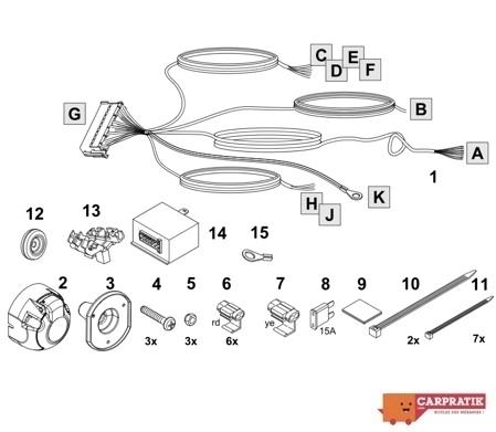 Schema montage faisceau electrique attache remorque