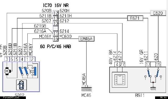 schema electrique 307 sw