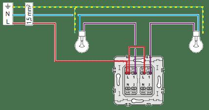 Schema electrique d'un interrupteur double allumage