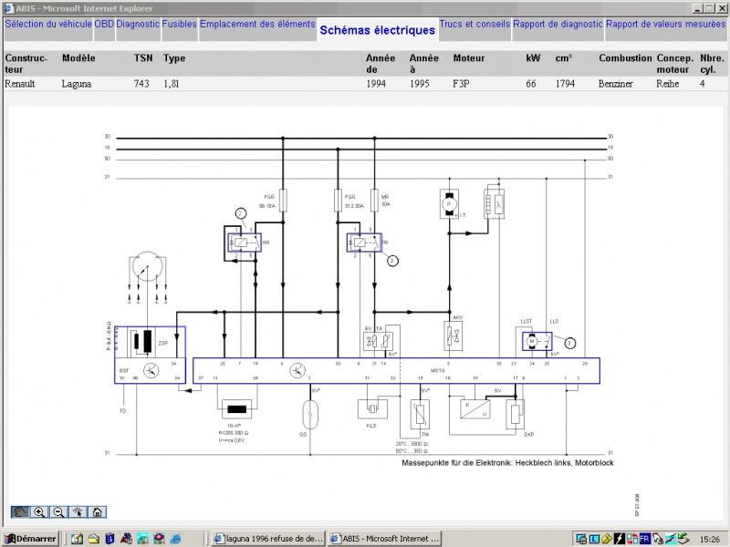 Schema faisceau electrique laguna 2