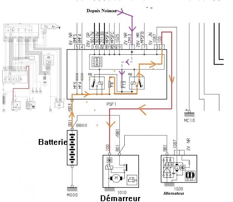 Schema electrique leve vitre c3