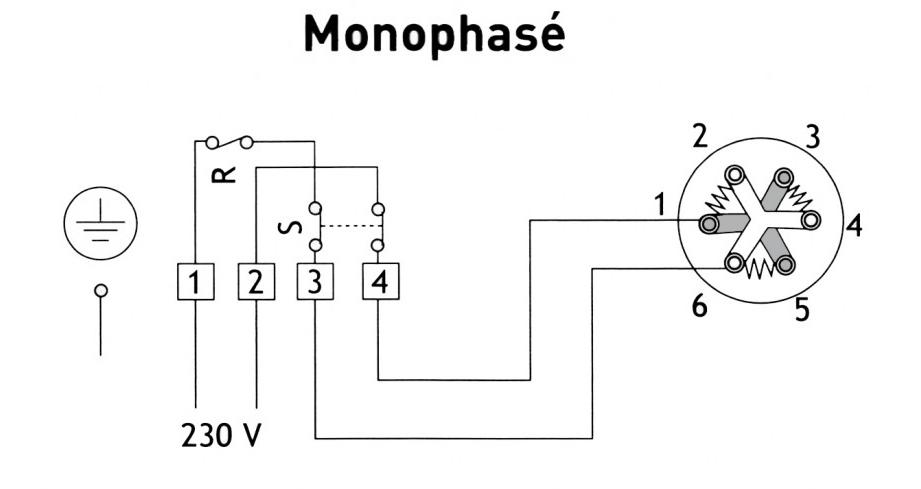 sch u00e9ma branchement moteur  u00e9lectrique monophas u00e9