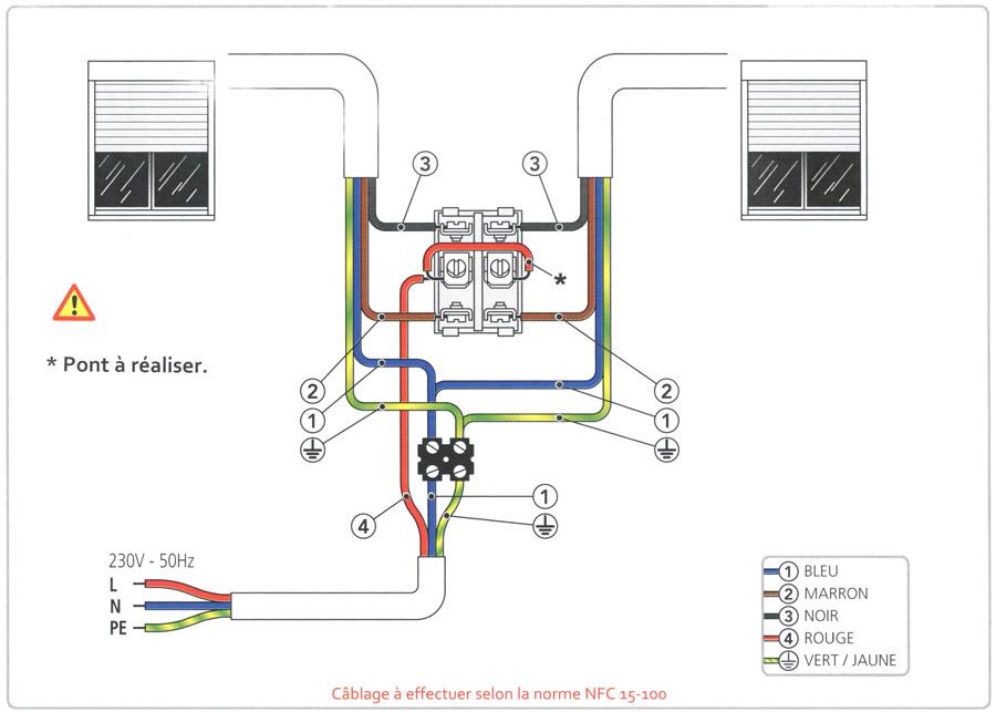 Schema electrique branchement volet roulant
