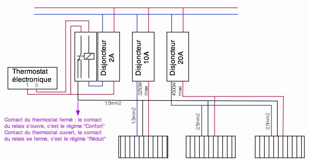 Schema pour branchement radiateur electrique