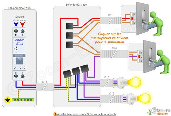 Schema electrique va et vient avec trois interrupteurs