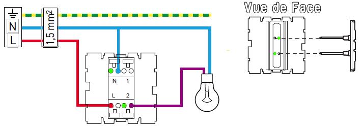 Schema electrique interrupteur avec temoin lumineux
