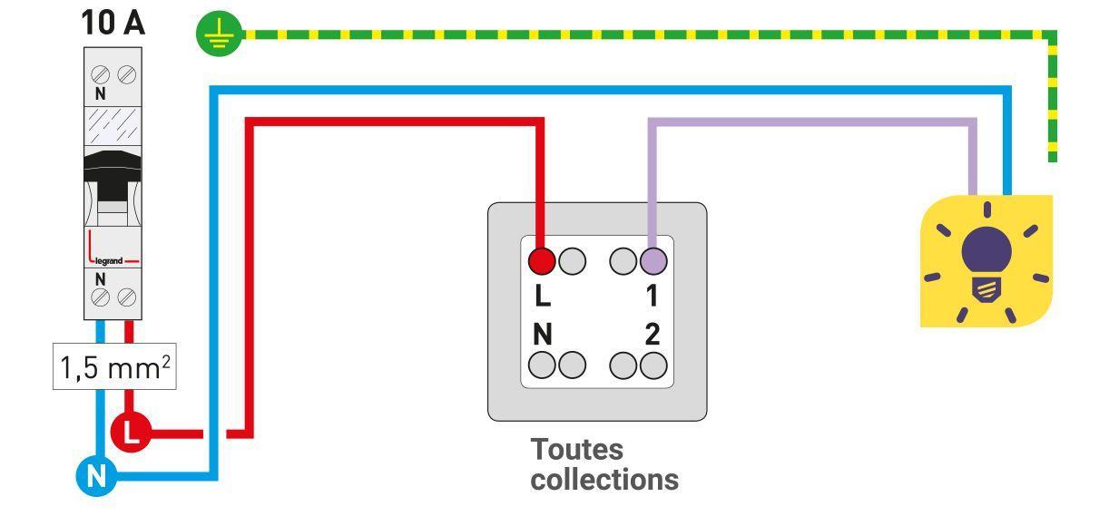 Schema electrique pour prise et lumiere