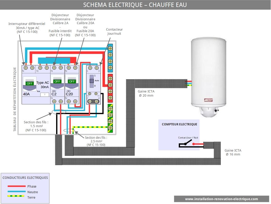 Schema electrique relais chauffe eau