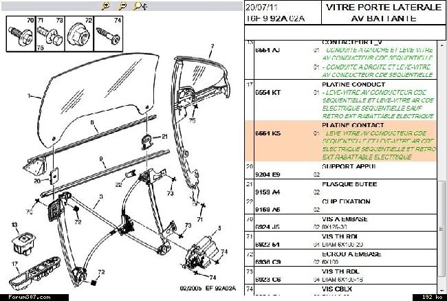 Schema electrique moteur leve vitre 307