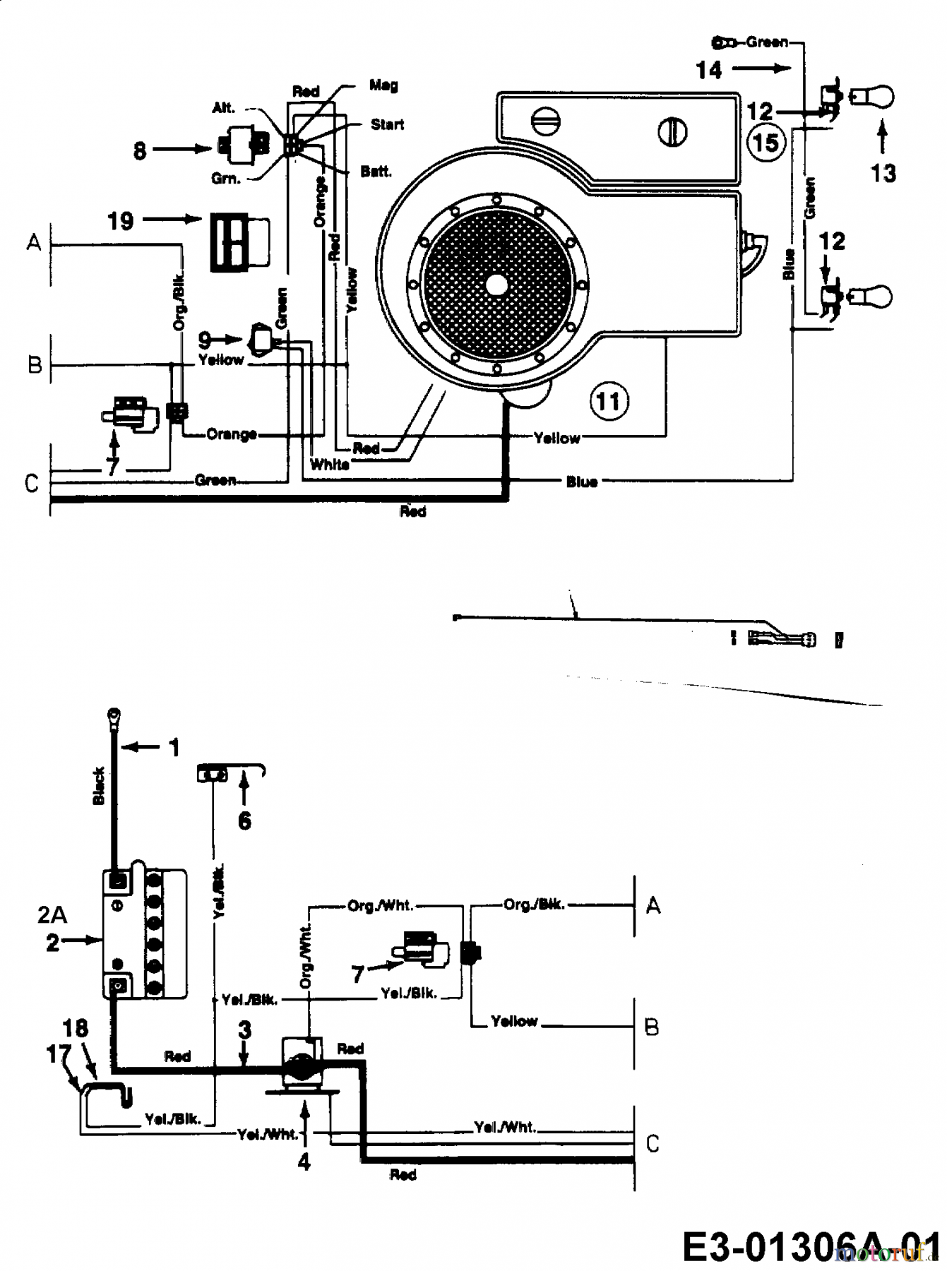 schema electrique tracteur tondeuse mtd
