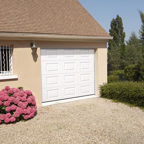 Porte de garage sectionnelle à cassettes londres grise - l.240 x h.200 cm