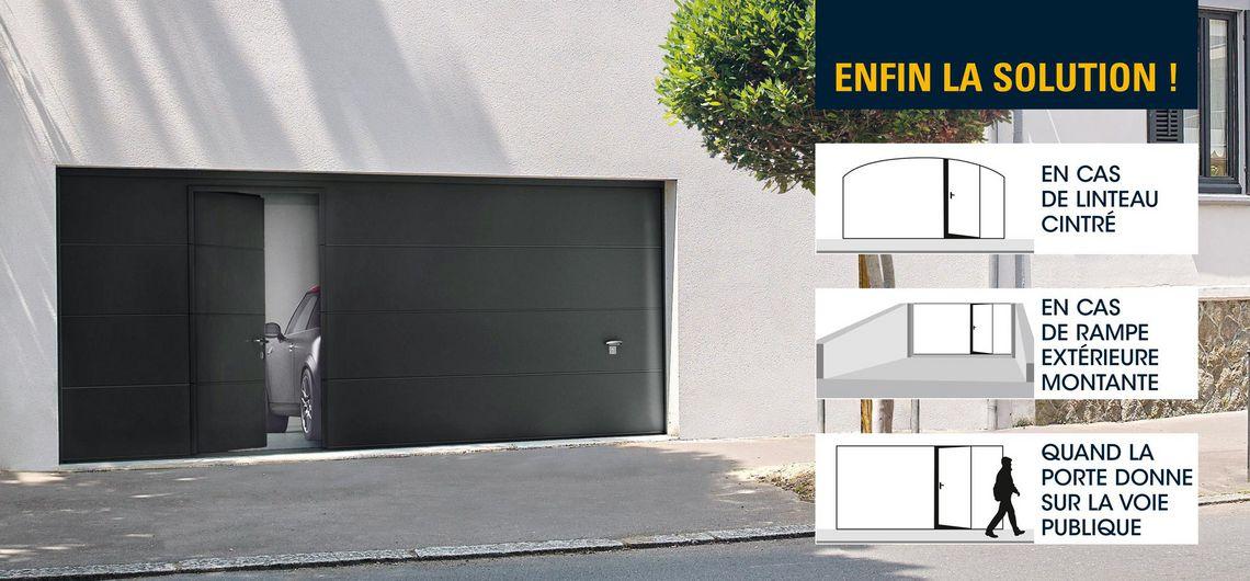 Porte de garage sectionnelle avec porte pieton