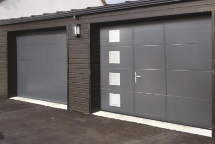 Porte de garage sectionnelle motorisee avec portillon r