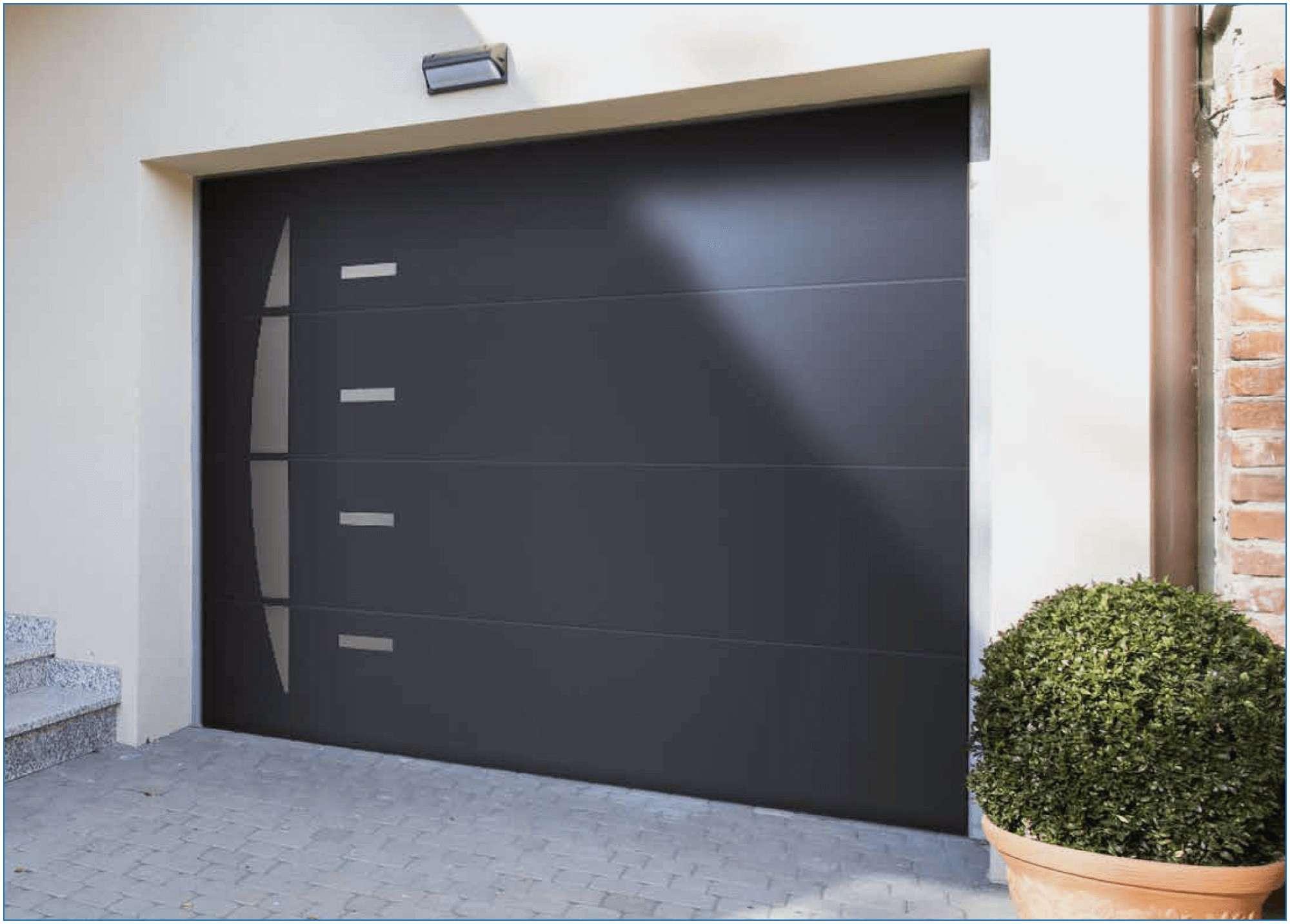 Prix porte de garage sectionnelle avec portillon motoris e bois eco - Porte de garage electrique prix ...