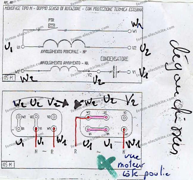 schema branchement moteur electrique monophase 220v