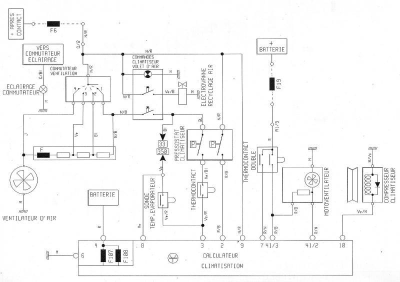 schema electrique de climatisation automobile